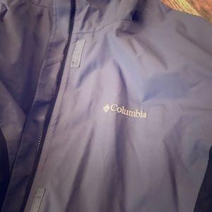Hooded Columbia Omni-tech rain jacket